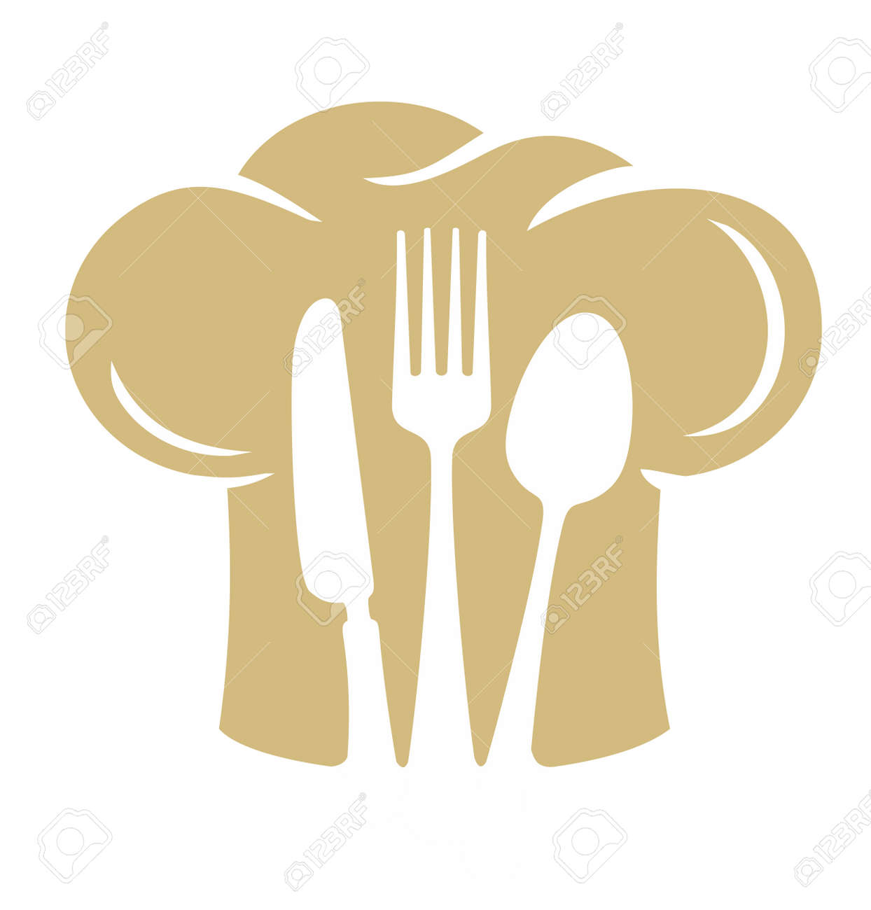 Chef hat silhouette with fork knife, spoon. Vector - 87566497