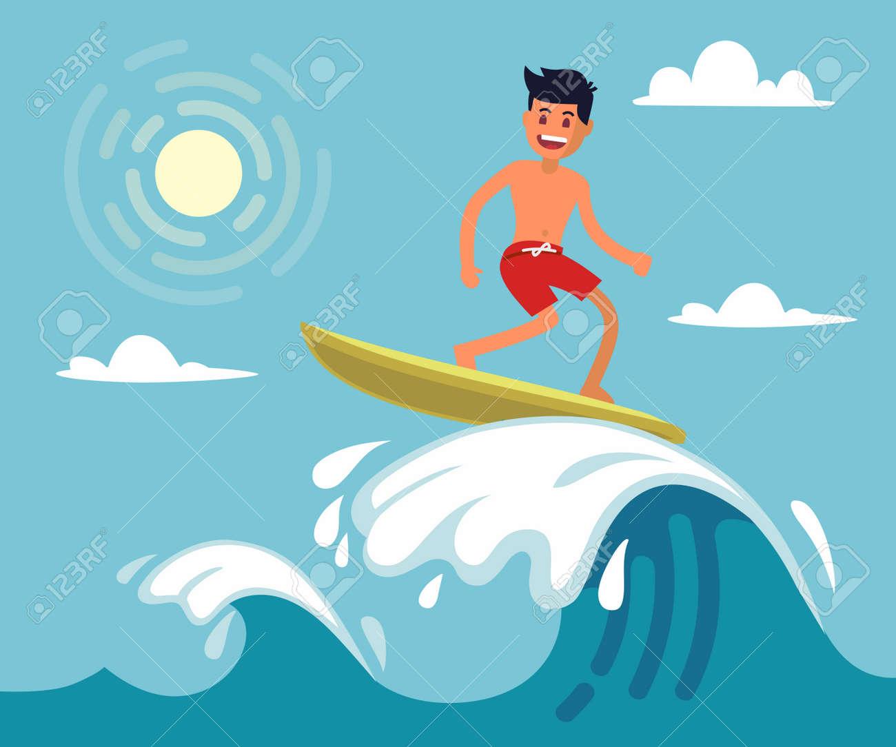Surfer riding the wave. Vector illustration in flat stile - 87566499
