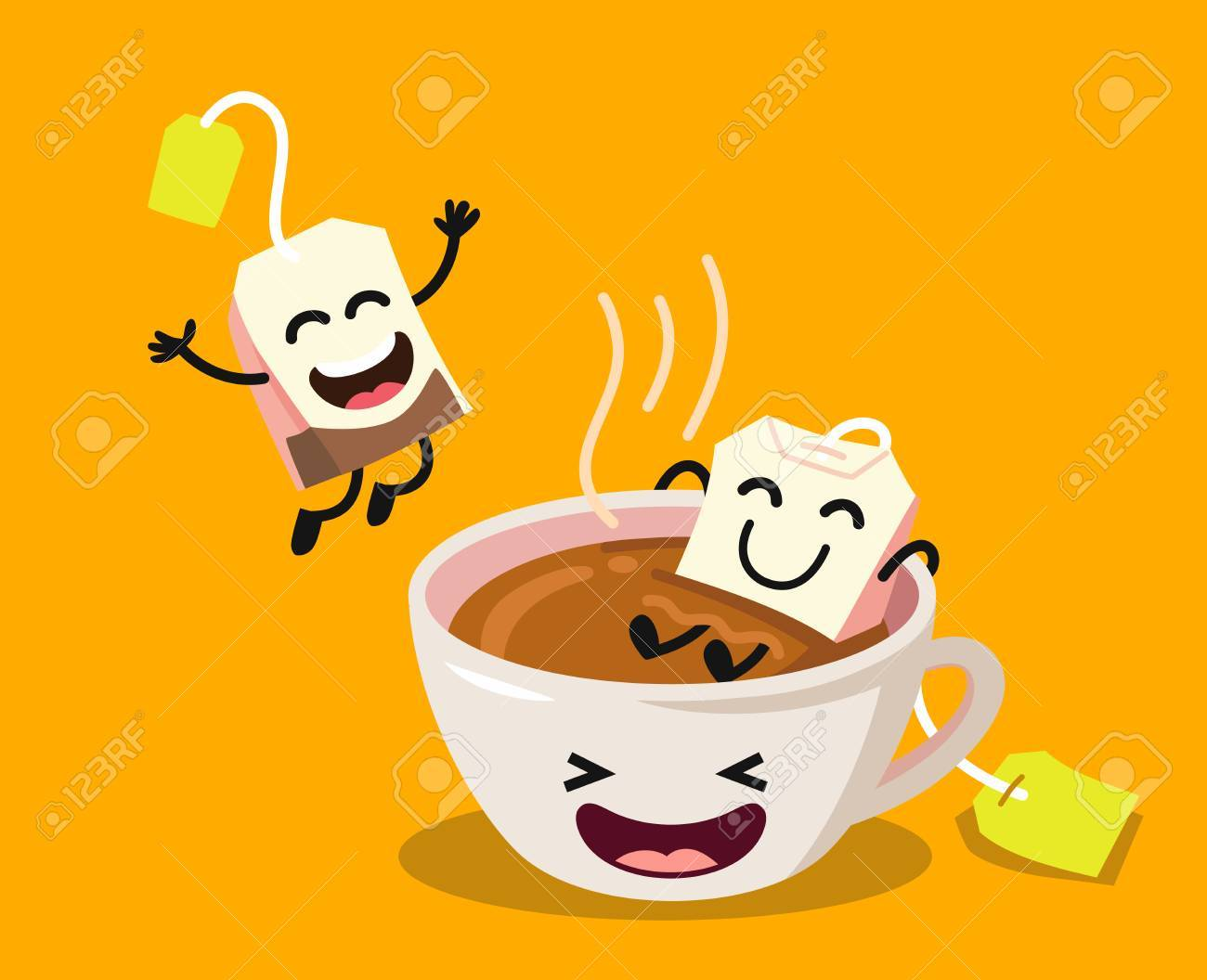 Cute cartoon cup of tea with happy tea bags on yellow background. Vector flat illustration - 88598213