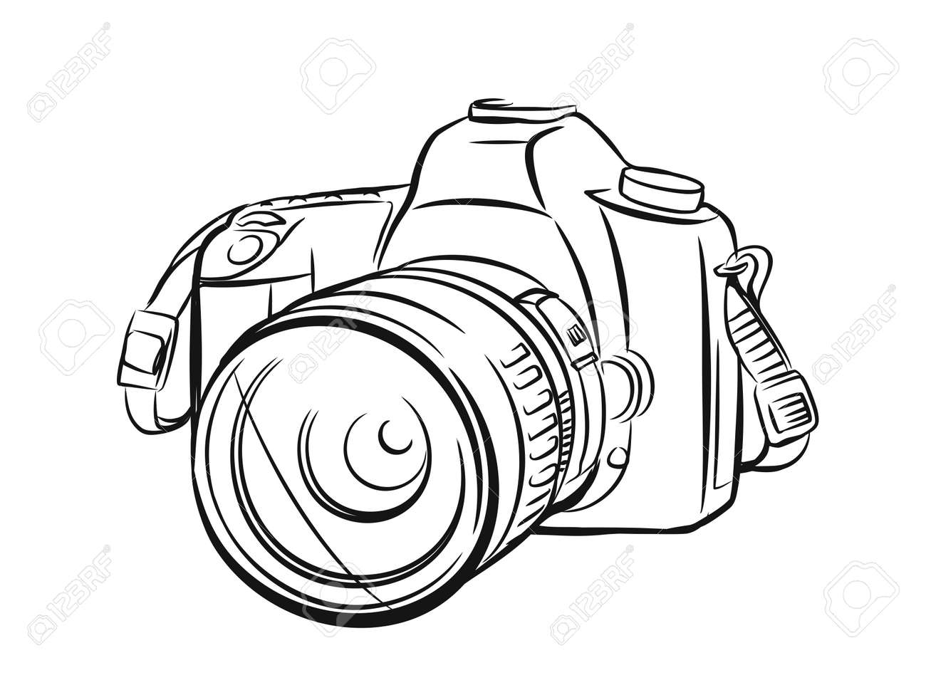 Modern camera in outline style. Vector hand drawn - 95738427