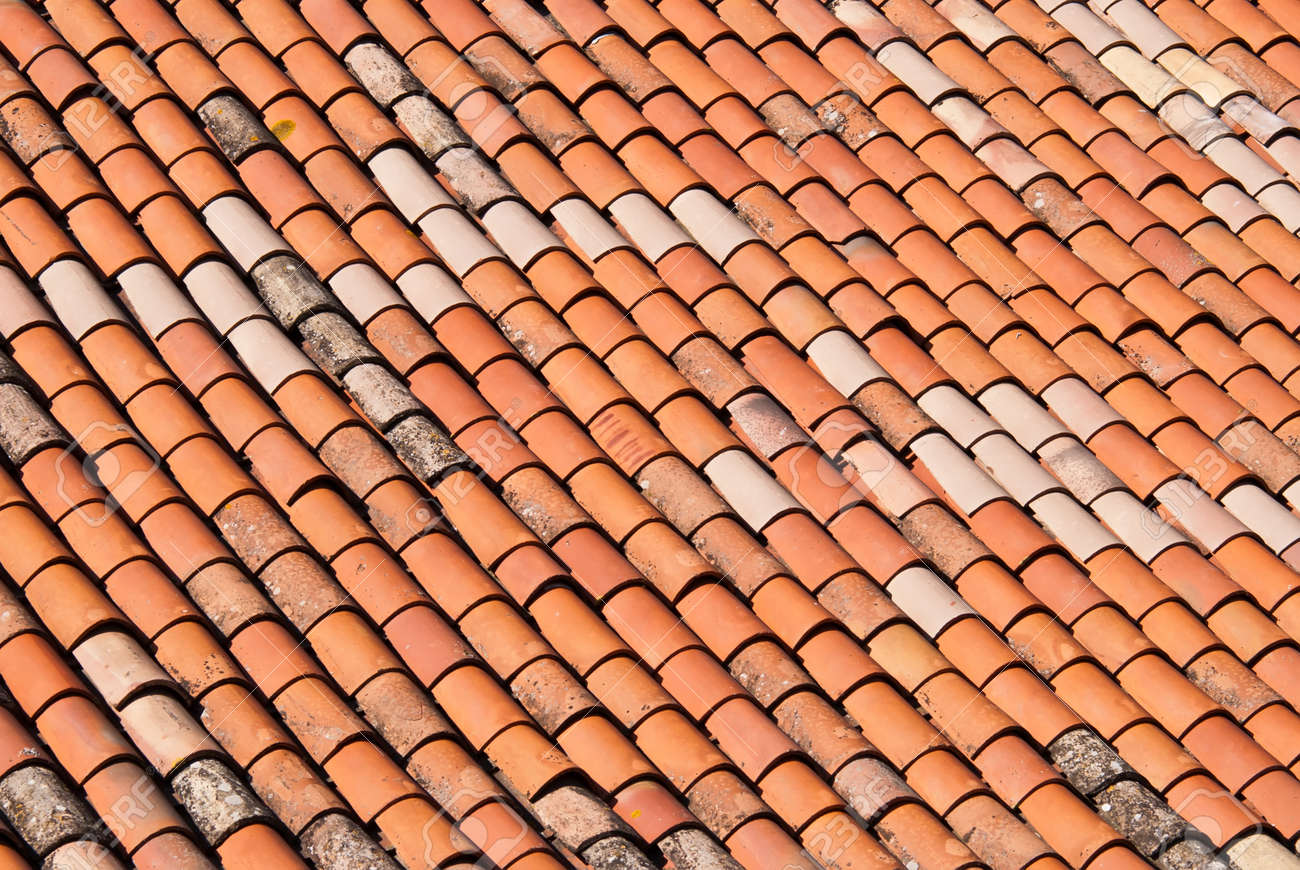 Brick Roof Texture a red brick roof as a texture or background stock photo, picture and