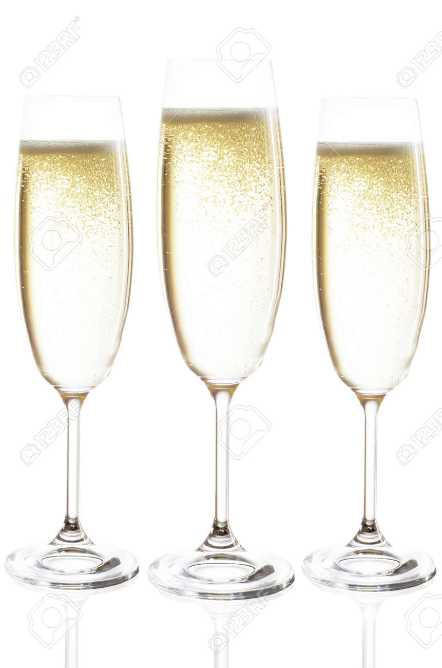 champagne glasses isolated before white background Stock Photo - 16177144
