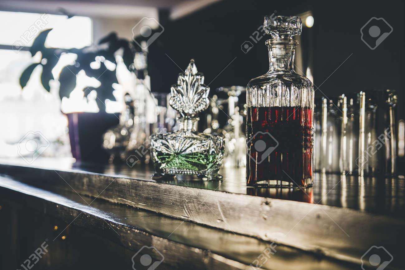 Bottles on the bar, vintage bottles - 155783749