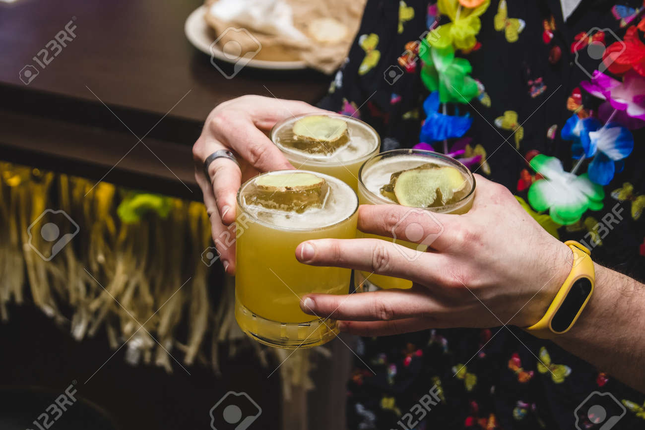 Bartender makes a cocktail, funny party - 155783406