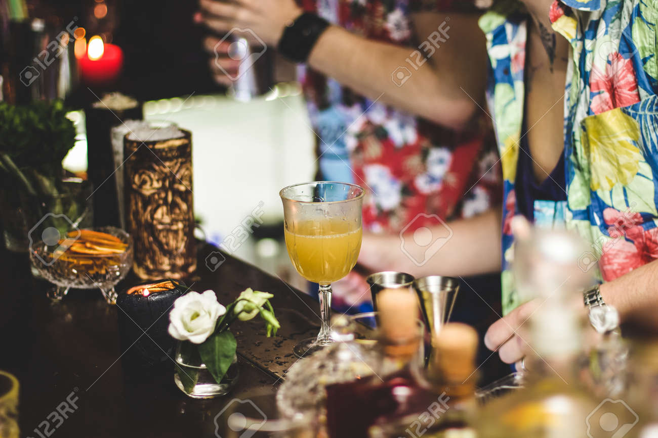 Bartender makes a cocktail, funny party - 155783417