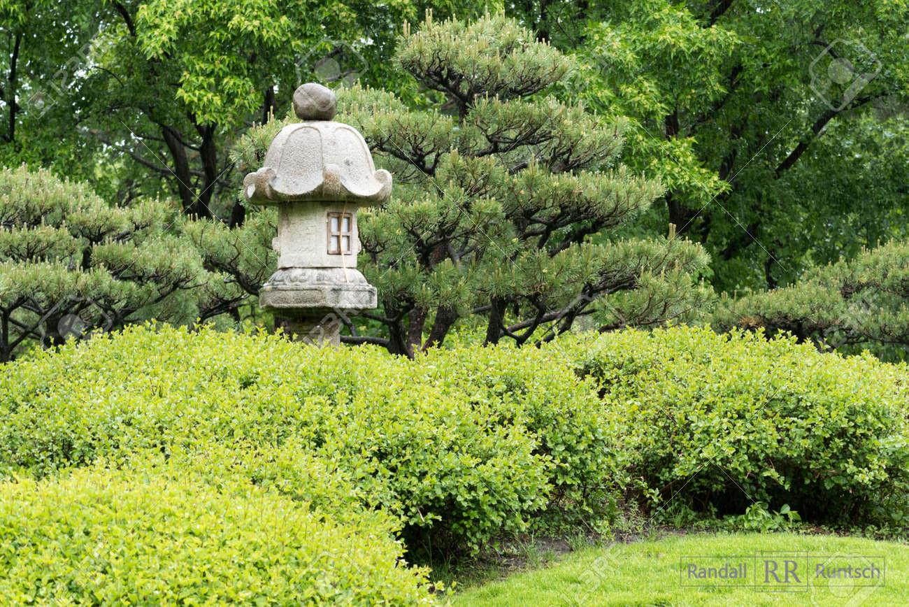 Steinlaterne Bäume Und Sträucher In Einem Japanischen Garten