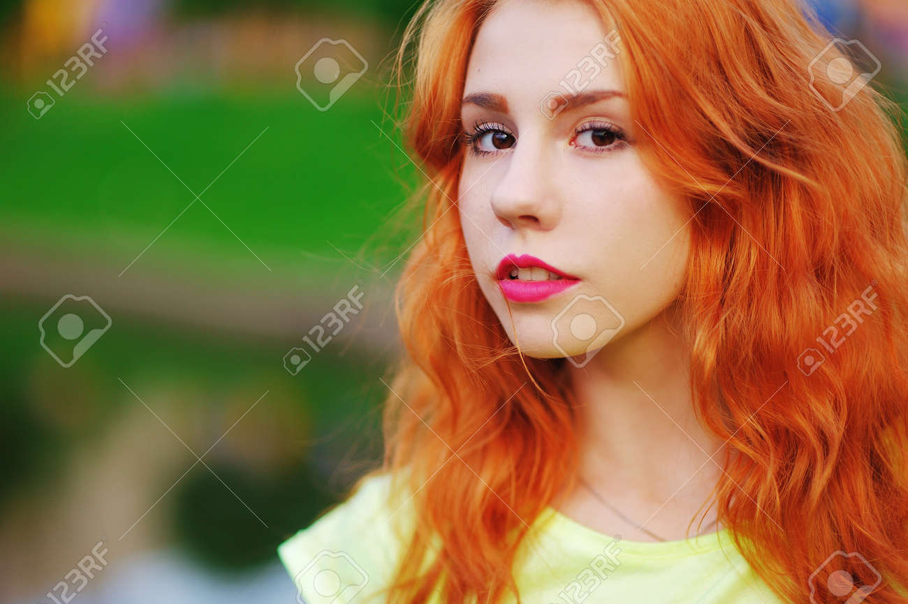 5c337876988 Stock Photo Wonderful Portrait Of A Beautiful Brown Eyed Girls With Bright  Red Hair And Bold