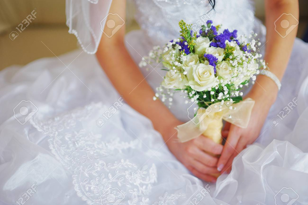 Beautiful Wedding Ceremony Delicate Bouquet Of White Roses And