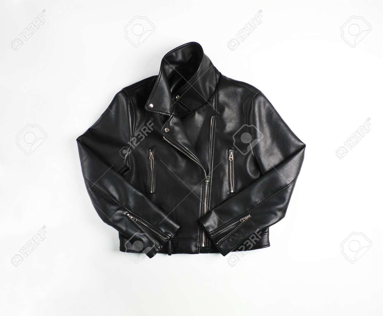 Classic vintage black leather bikers jacket shot from the front isolated on white. - 113008993