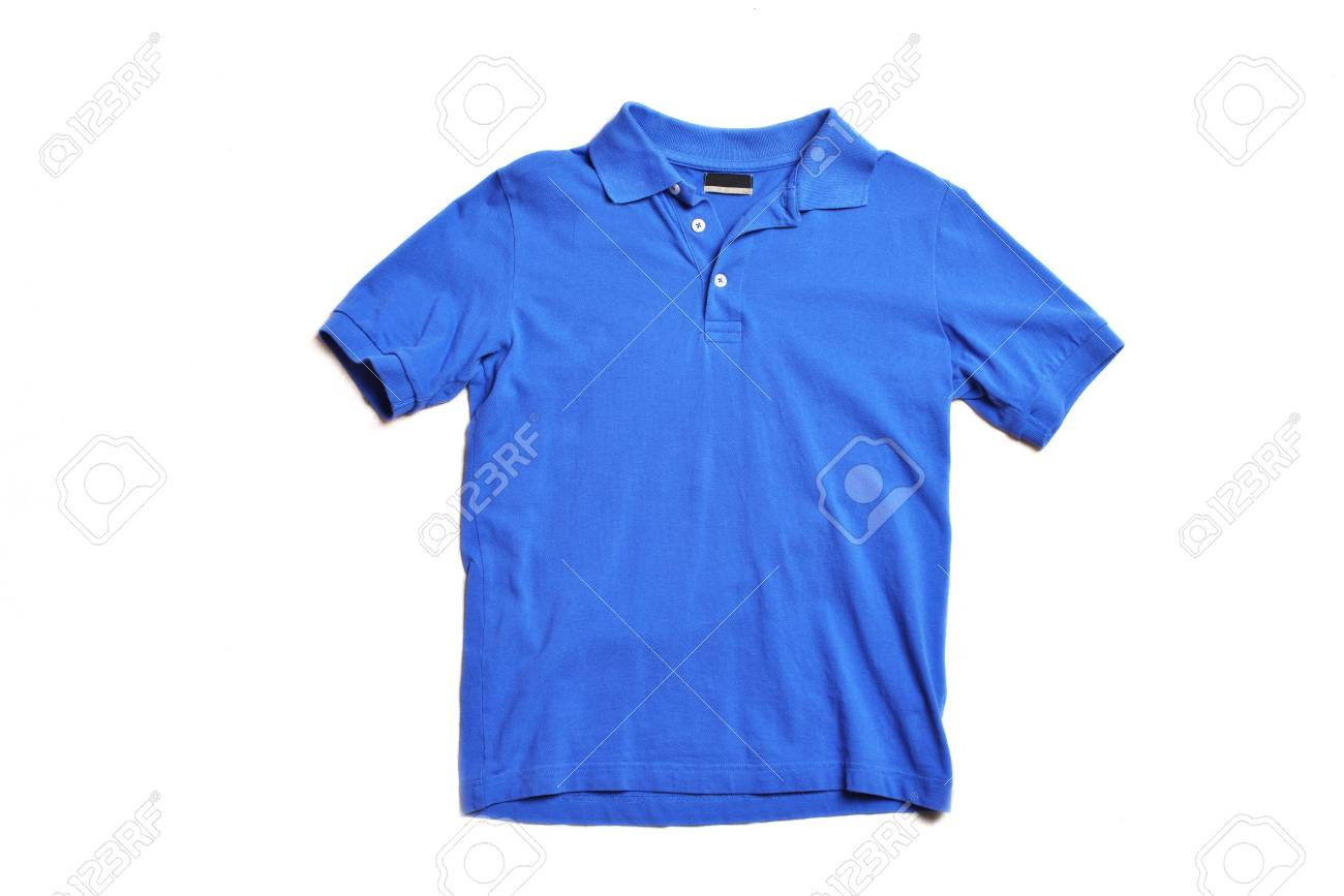 Blank Blue Polo Shirt Front View Isolated White Background