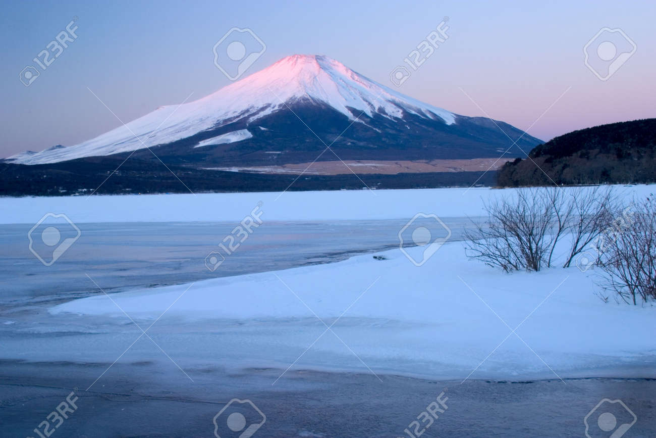 Mount Fuji with a frozen Lake Yamanaka in foreground Stock Photo - 503576