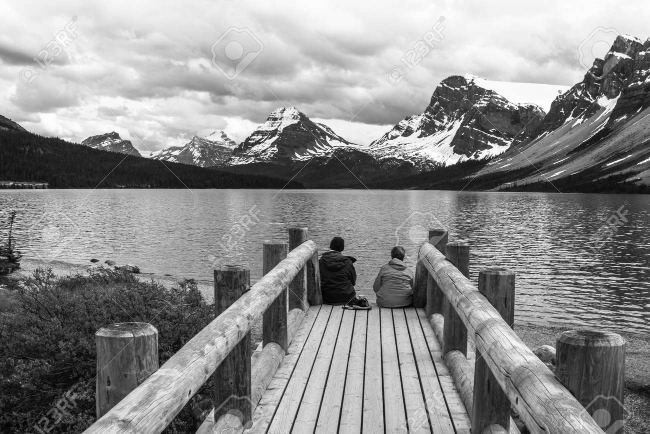 Beautiful bow lake banff canada in black and white stock photo 61715770