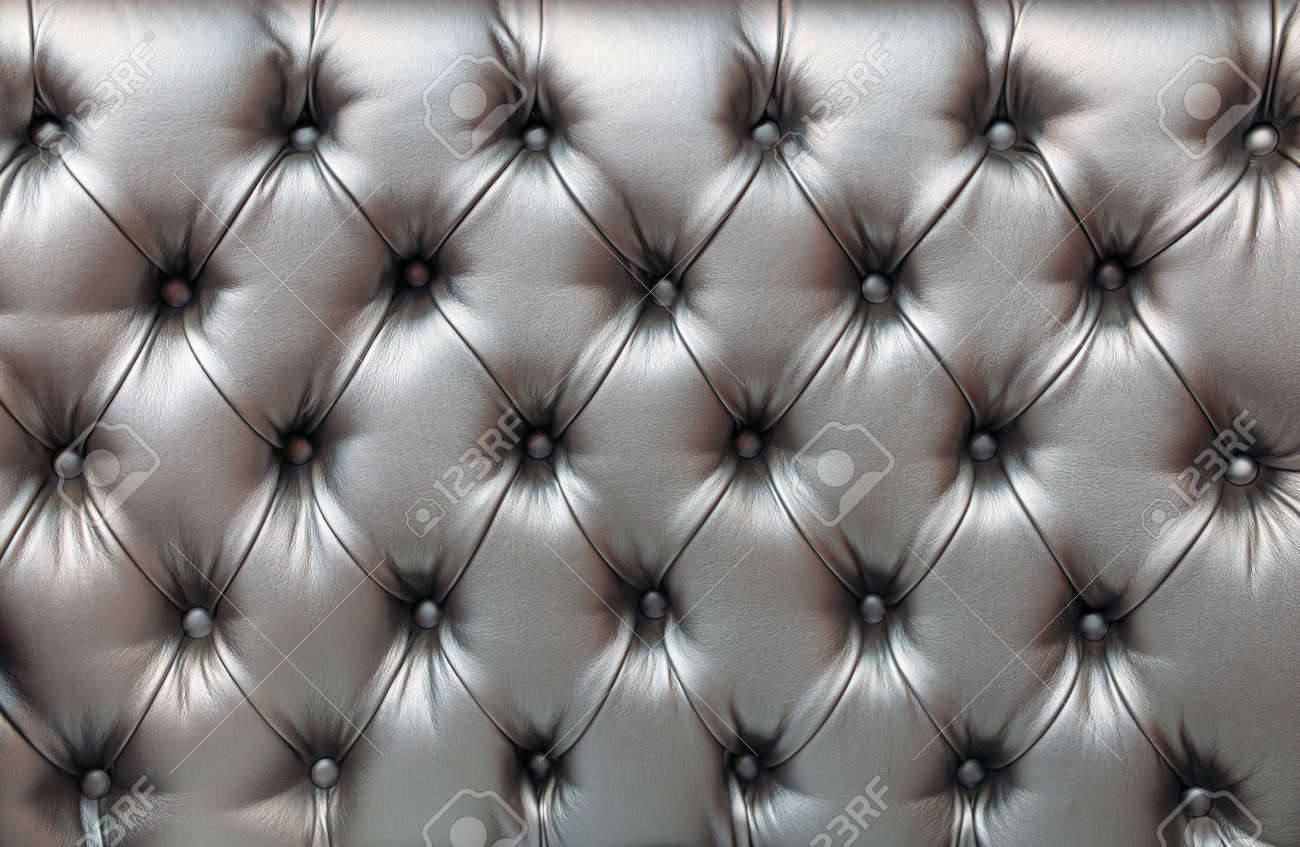 Light gray horizontal elegant leather texture with buttons for background and design - 146077333