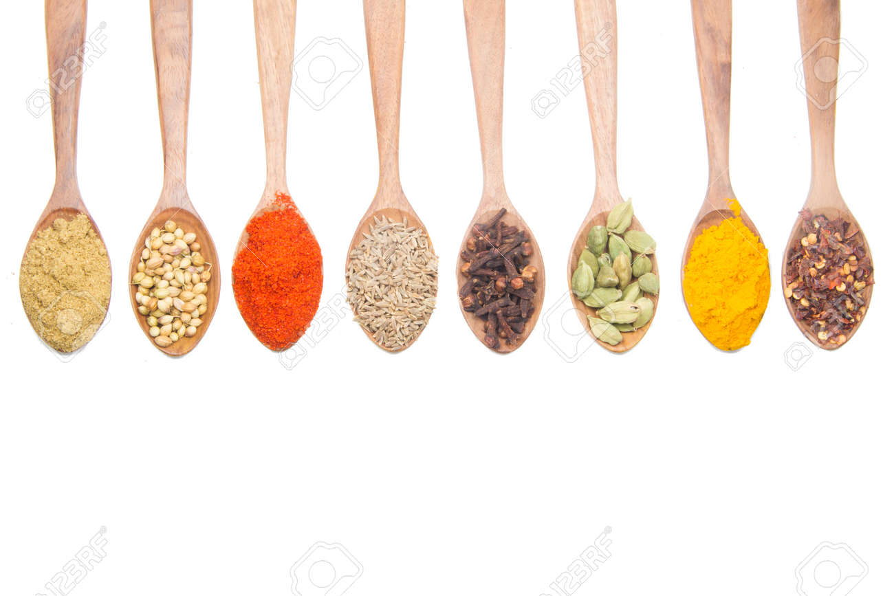 indian spices isolated on white background. - 152560331