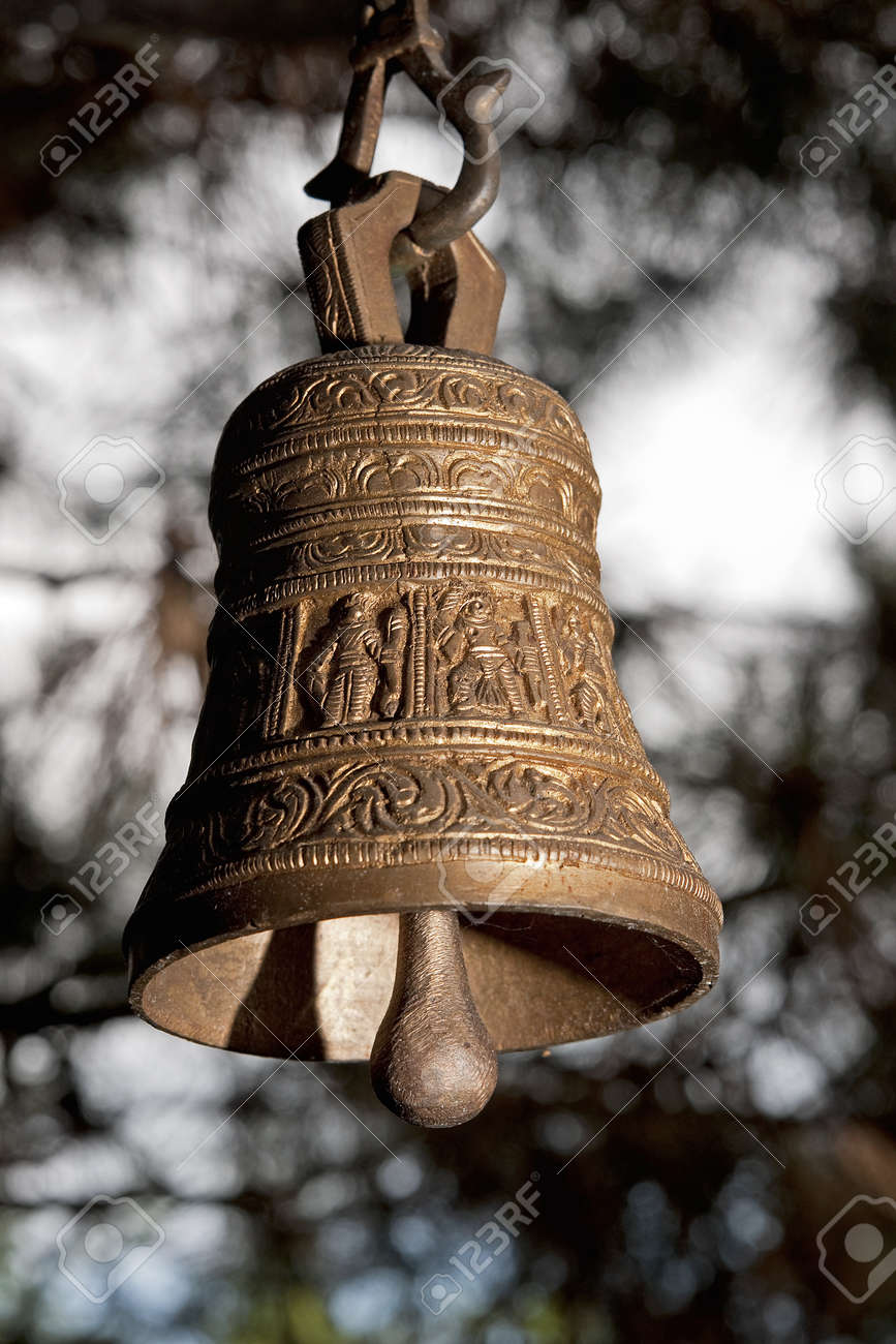 Antique bronze bell from India - popular element of Indian temples