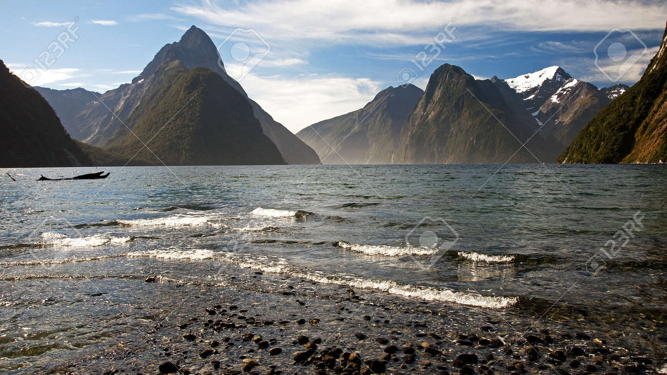 View of Mitre Peak with Mildford Sound Stock Photo - 14606278