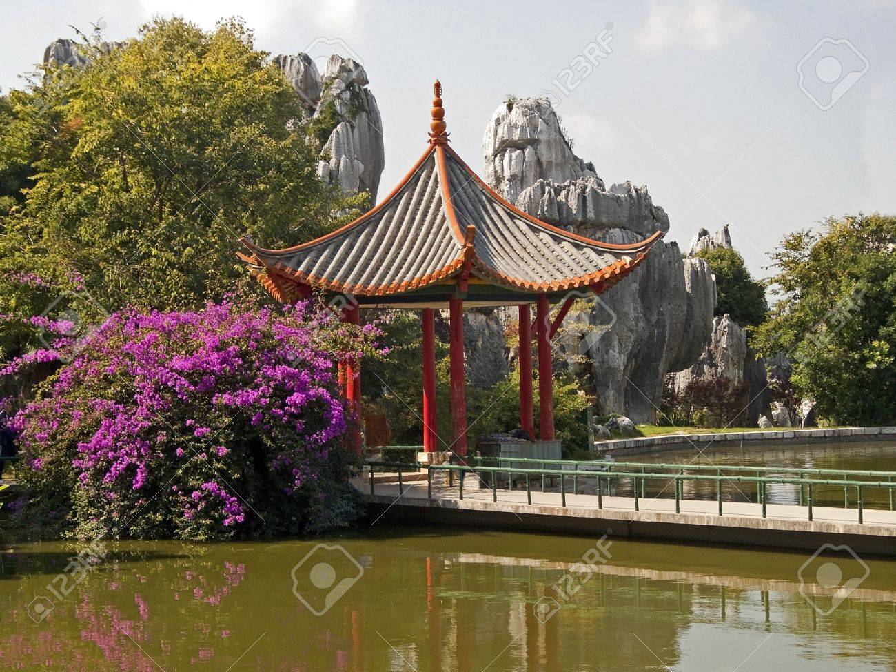 Chinese Gazebo Located In A Beautiful Garden On The Banks Of.. Stock ...