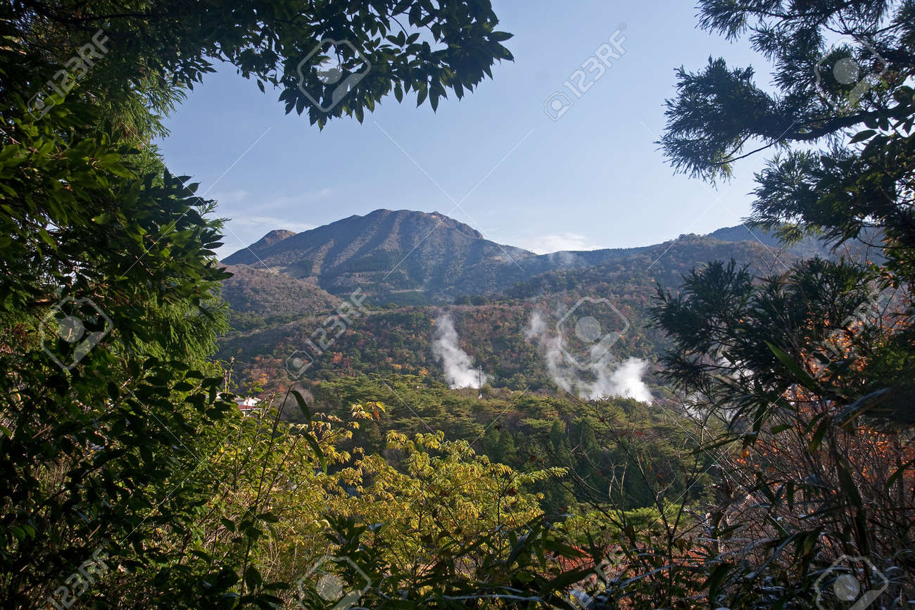 View Of The Japanese Geothermal Spa - Unzen On The Island Kyusiu ...