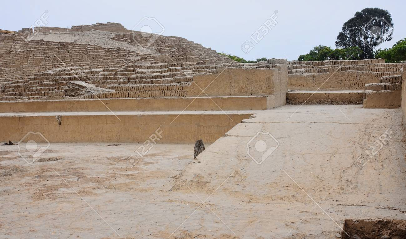 the huaca pucllana is a great adobe and clay pyramid located stock