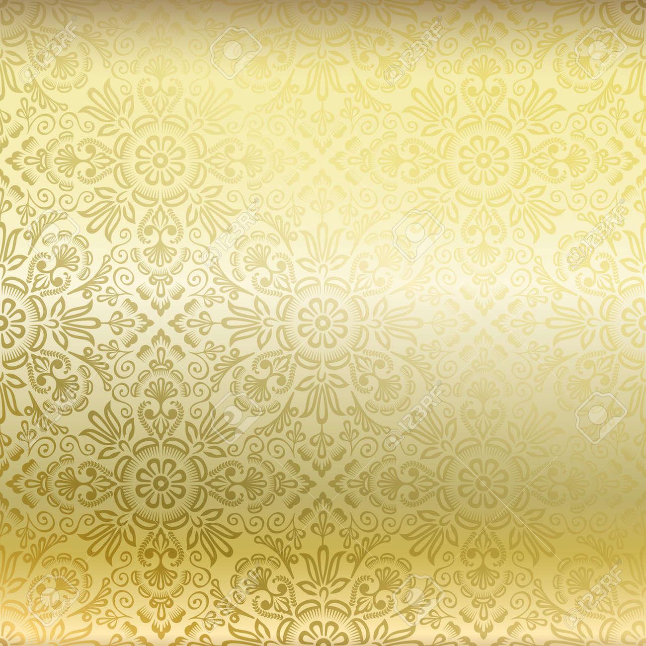 Seamless golden damask wallpaper - 14240091