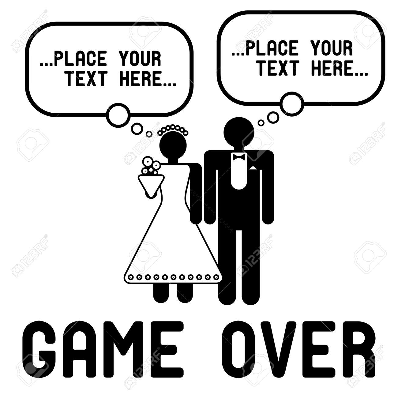 Funny wedding symbols with speech bubbles - Game Over Stock Vector - 14358322