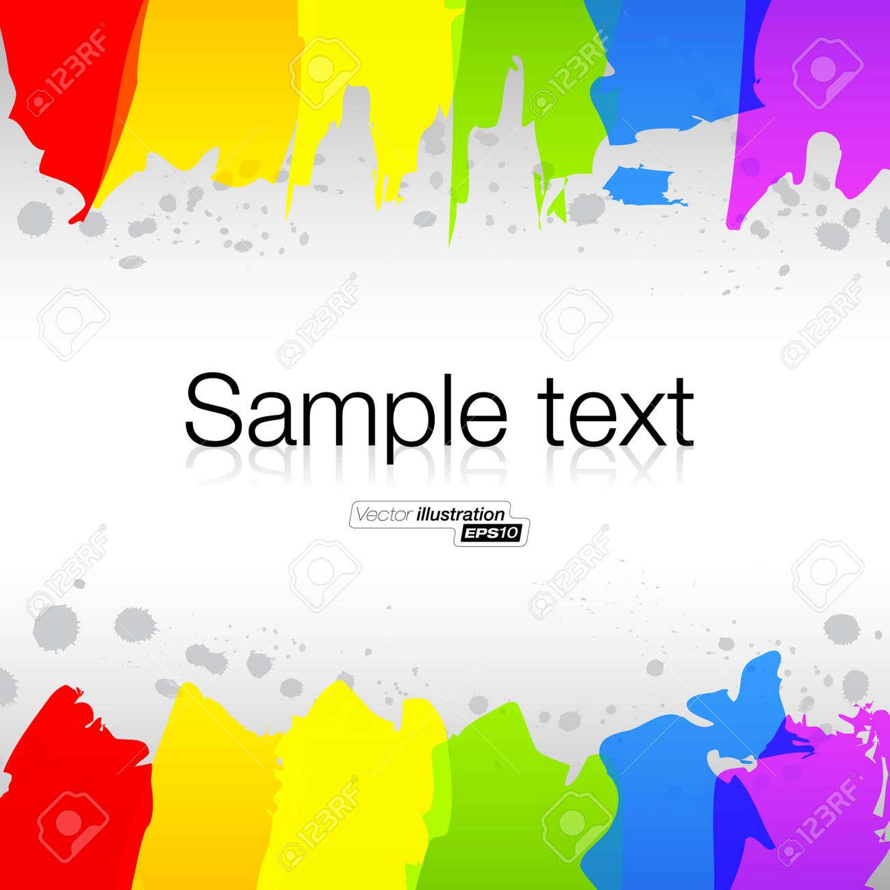 Abstaract hand drawn watercolor rainbow lines - 14515898