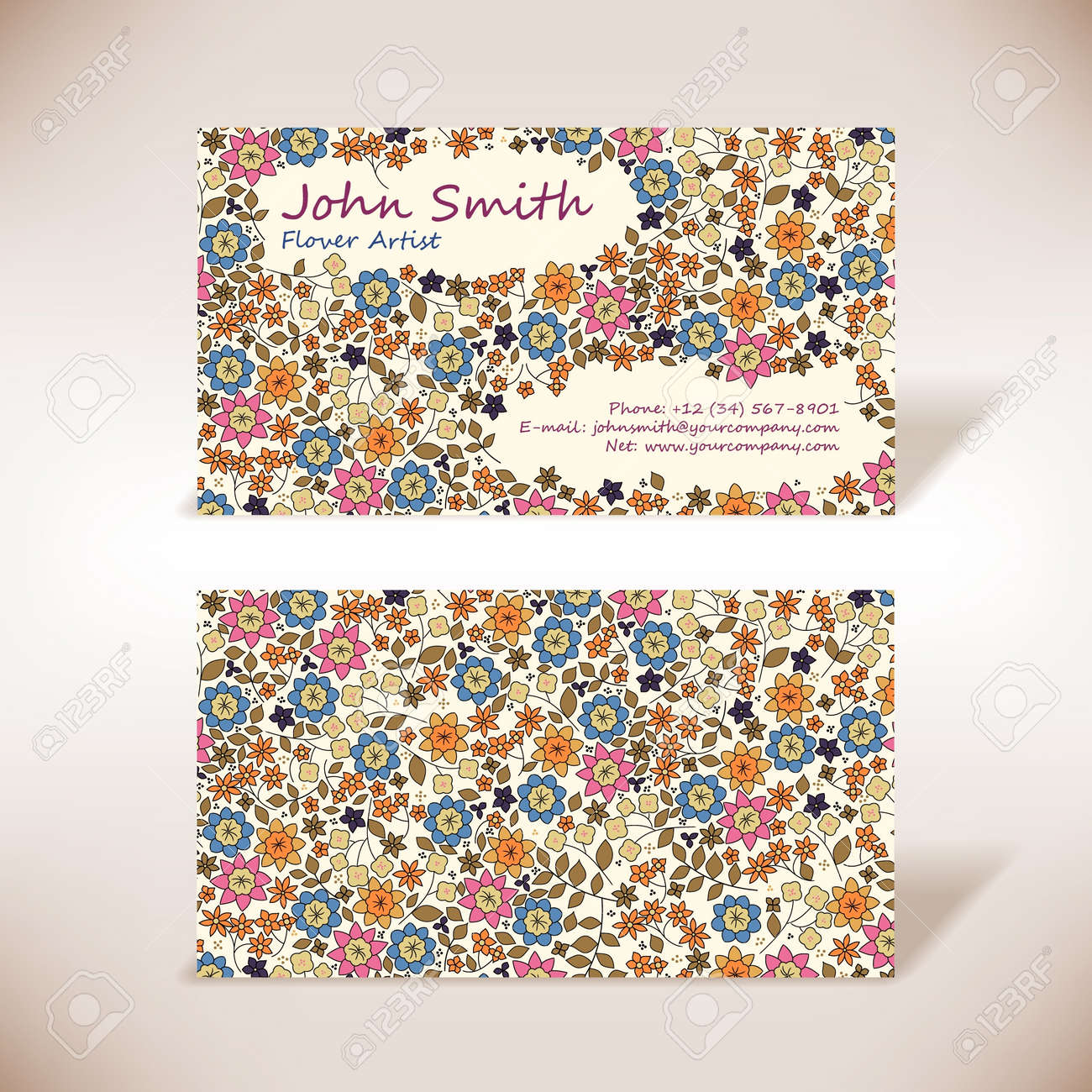 Small flowers business-card - 14559622