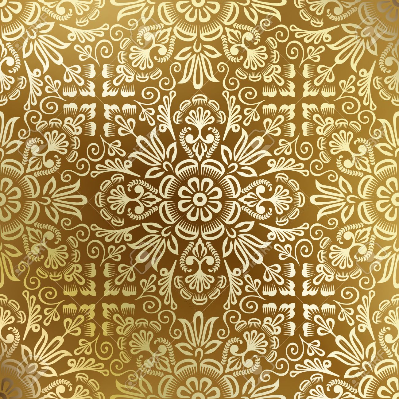 Seamless golden damask wallpaper - 14580827