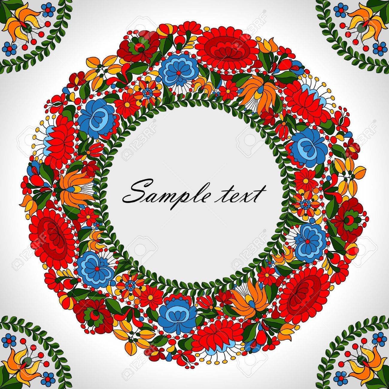 Hungarian traditional folk ornament circle background template - 14580905