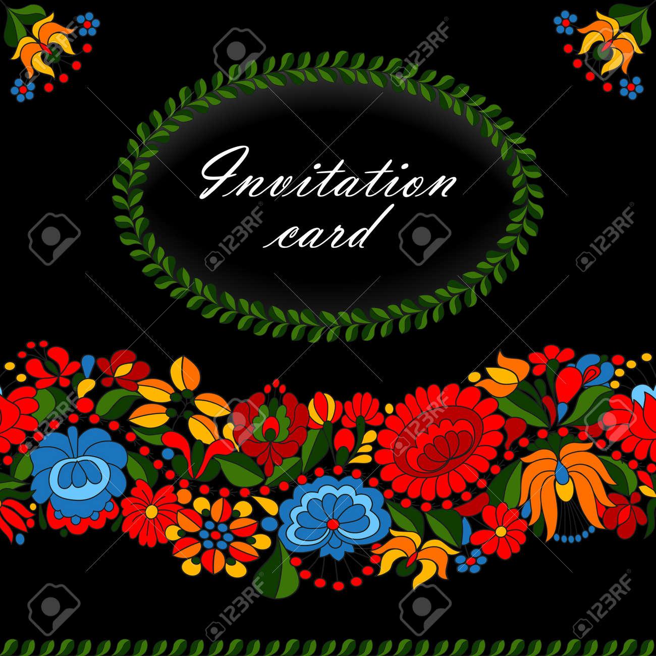 Hungarian traditional folk ornament invitation card template - 14580829