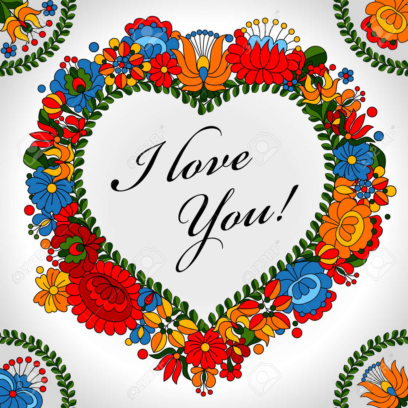 Hungarian traditional folk ornament heart background template - 14580847
