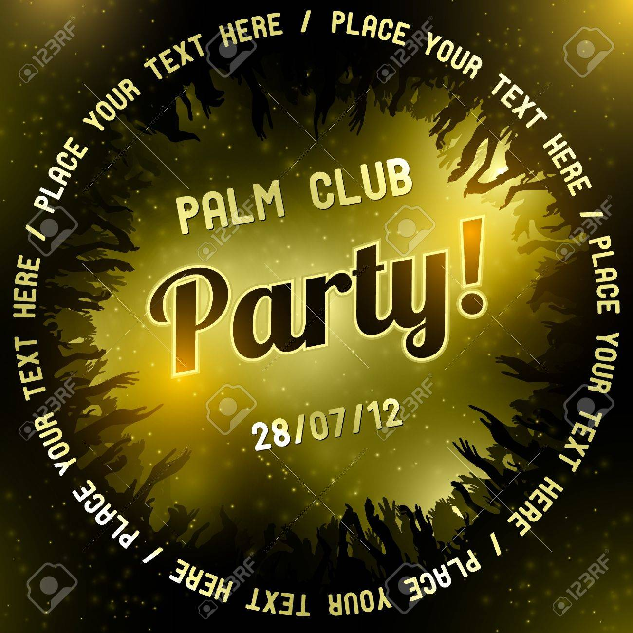 Gold Party flyer vector template - 14580906