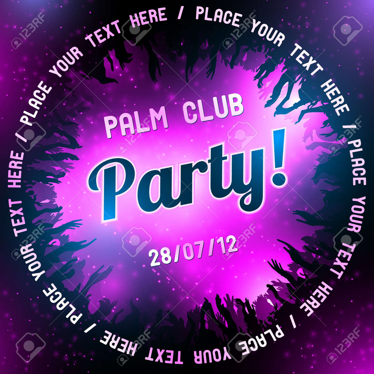 Pink Party flyer vector template - 14580913