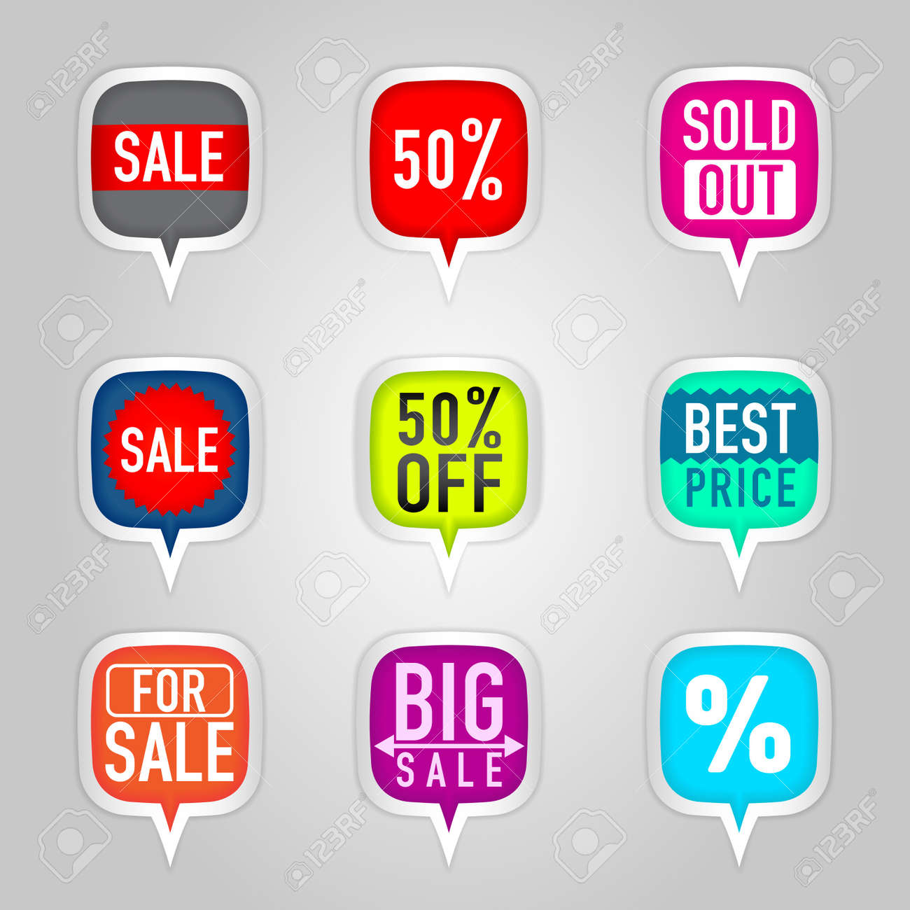 Colorful sale stickers Stock Vector - 14580796
