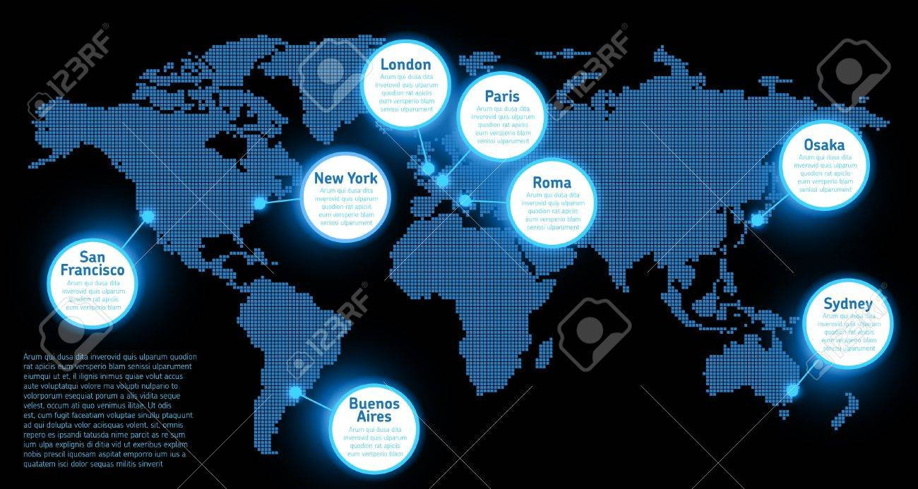 Digital Earth Map Concept Royalty Free Cliparts, Vectors, And