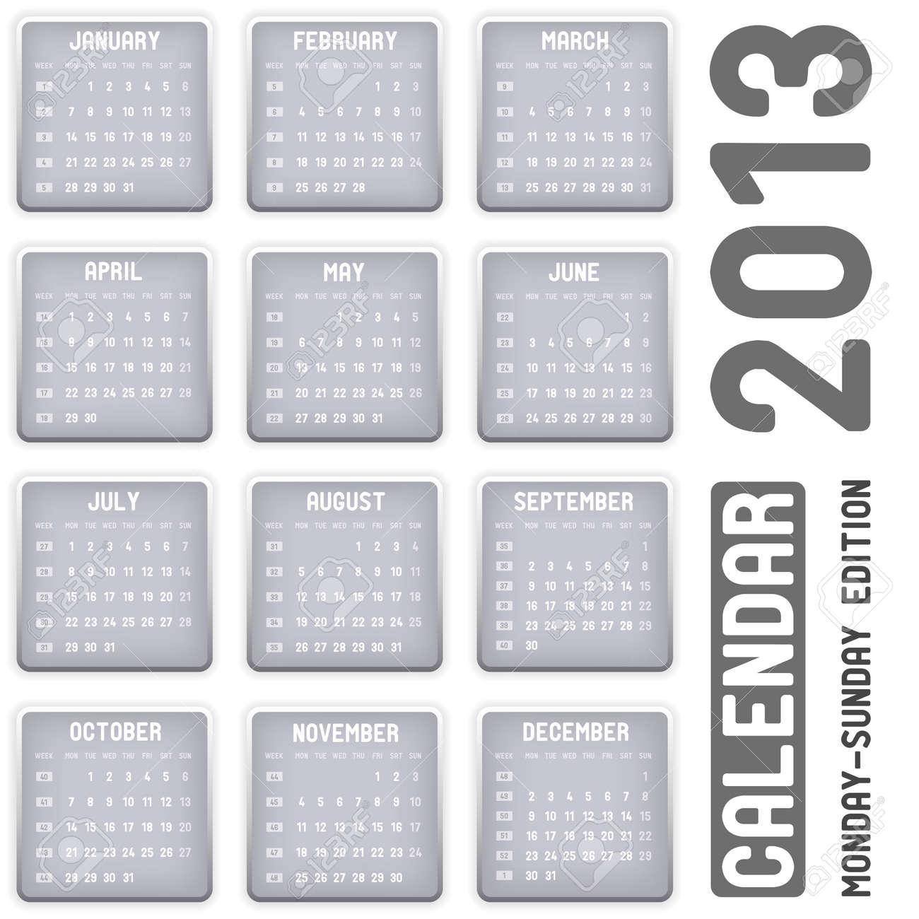 calendar 2013 - Monday-Sunday edition Stock Vector - 15615033