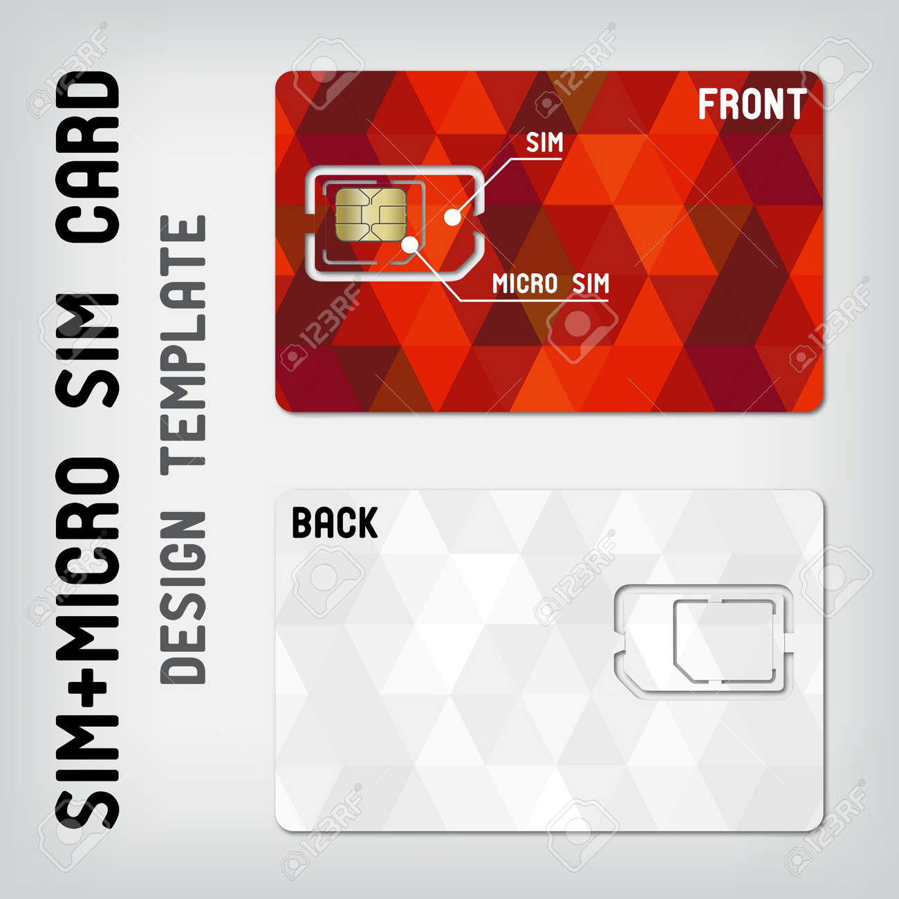 SIM+Micro SIM Card Template Stock Vector   17131555