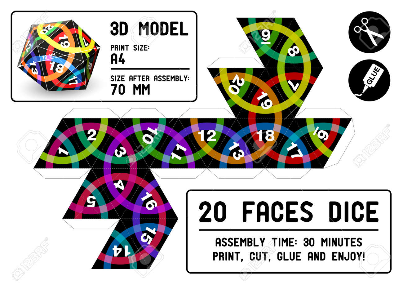 20 sided papercraft dice royalty free cliparts vectors and stock