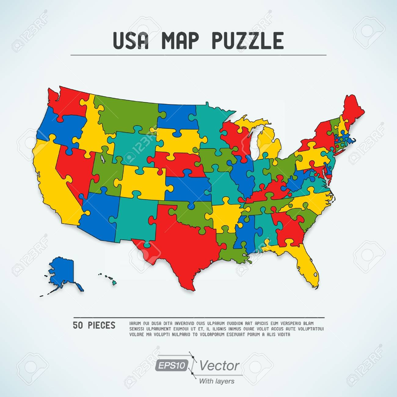 USA Map Puzzle Royalty Free Cliparts, Vectors, And Stock ...