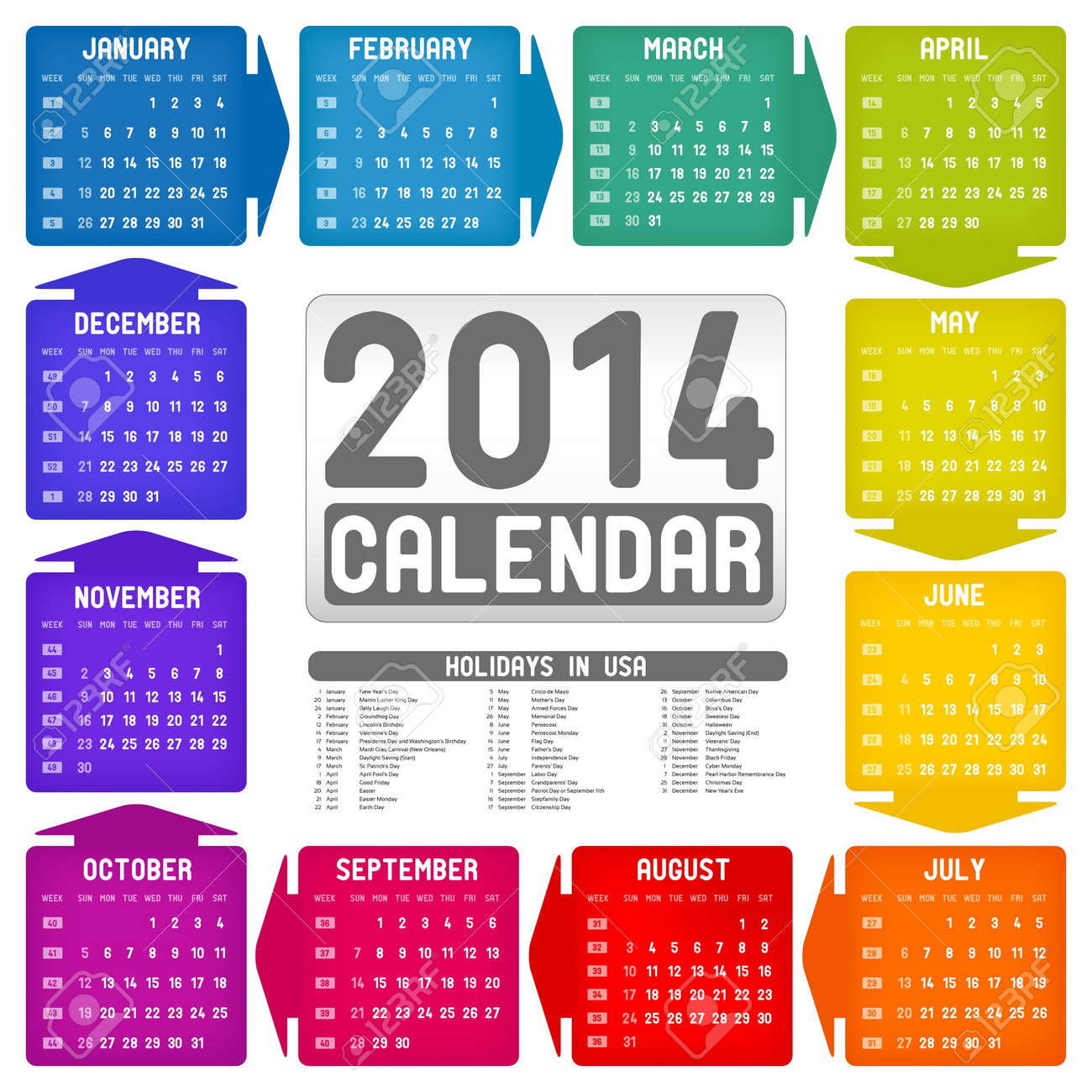 Vector colorful calendar 2014 Stock Vector - 21641209