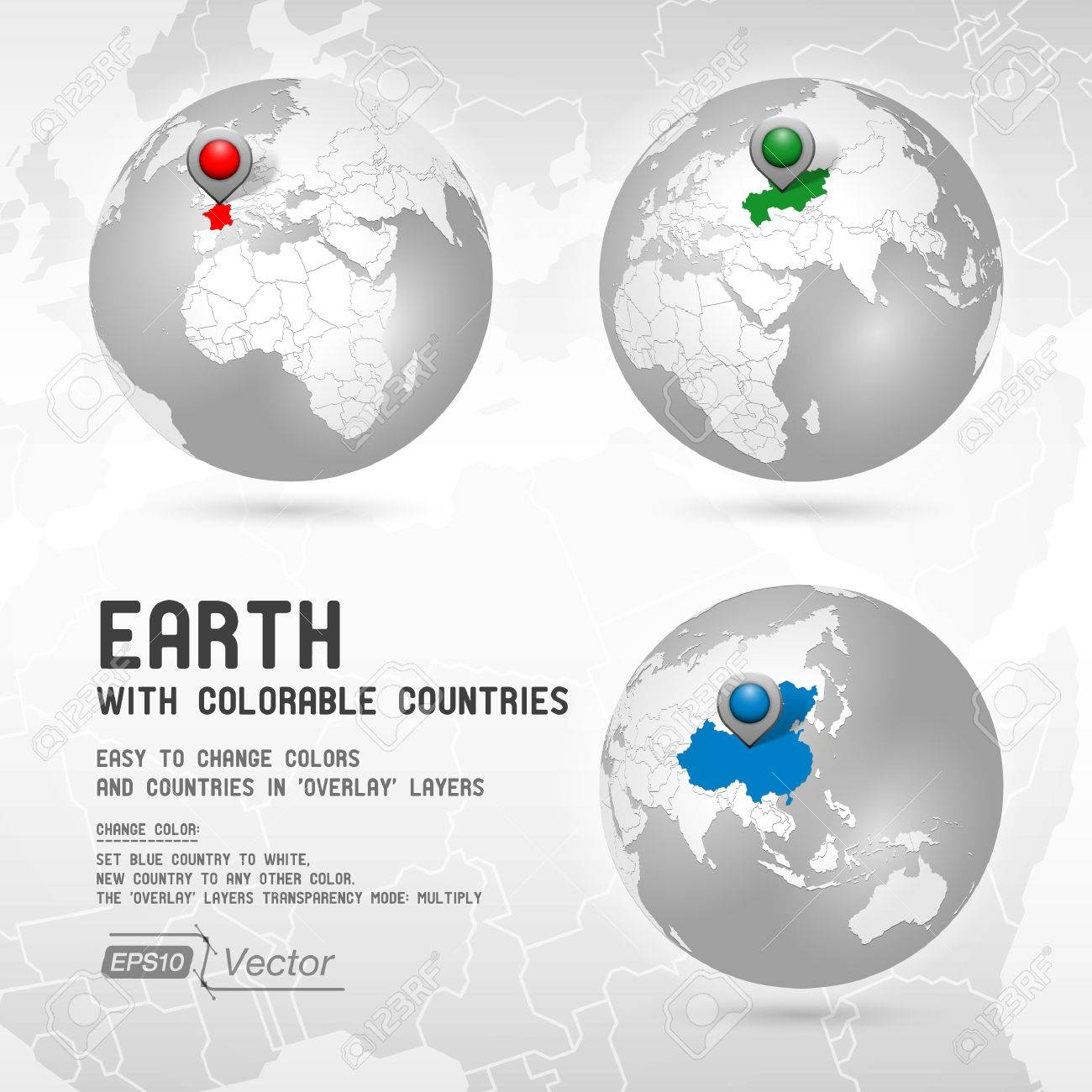 Globe with colorable countries - silver - Part one - 26014106