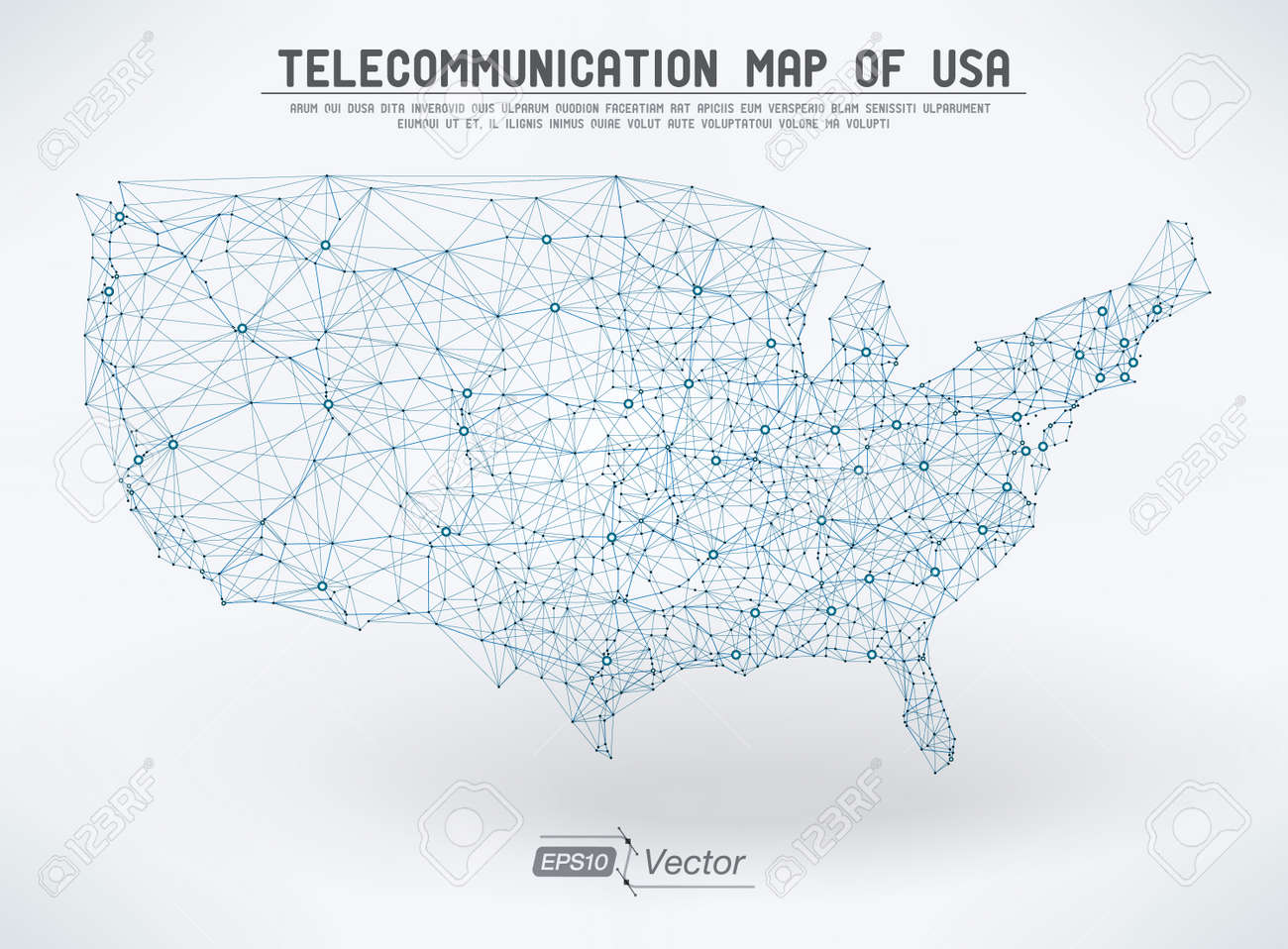 Abstract telecommunication USA map - 26014113