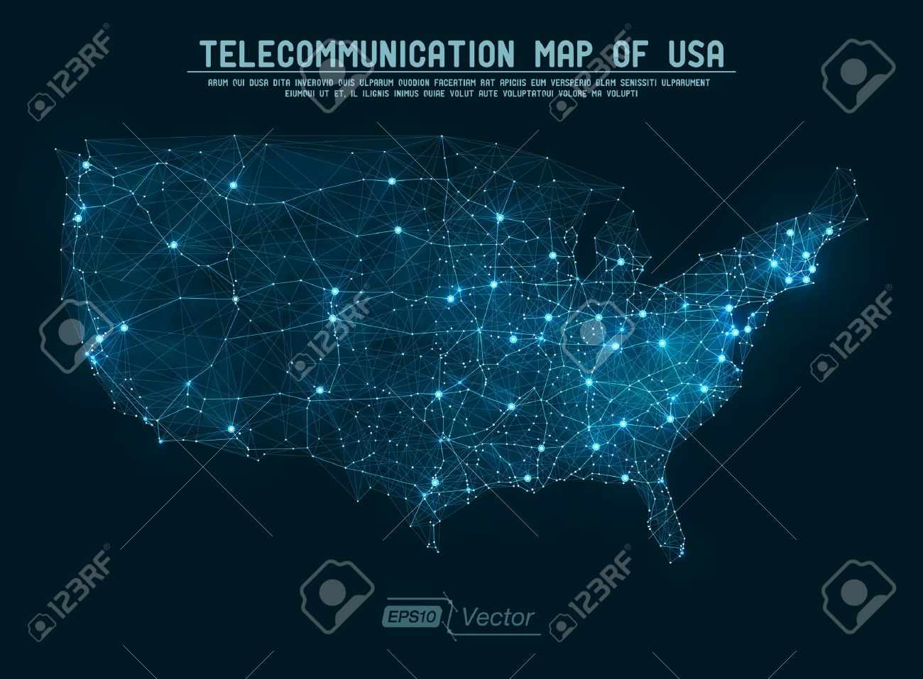 Abstract Telecommunication Network Map USA Royalty Free Cliparts - Map os usa