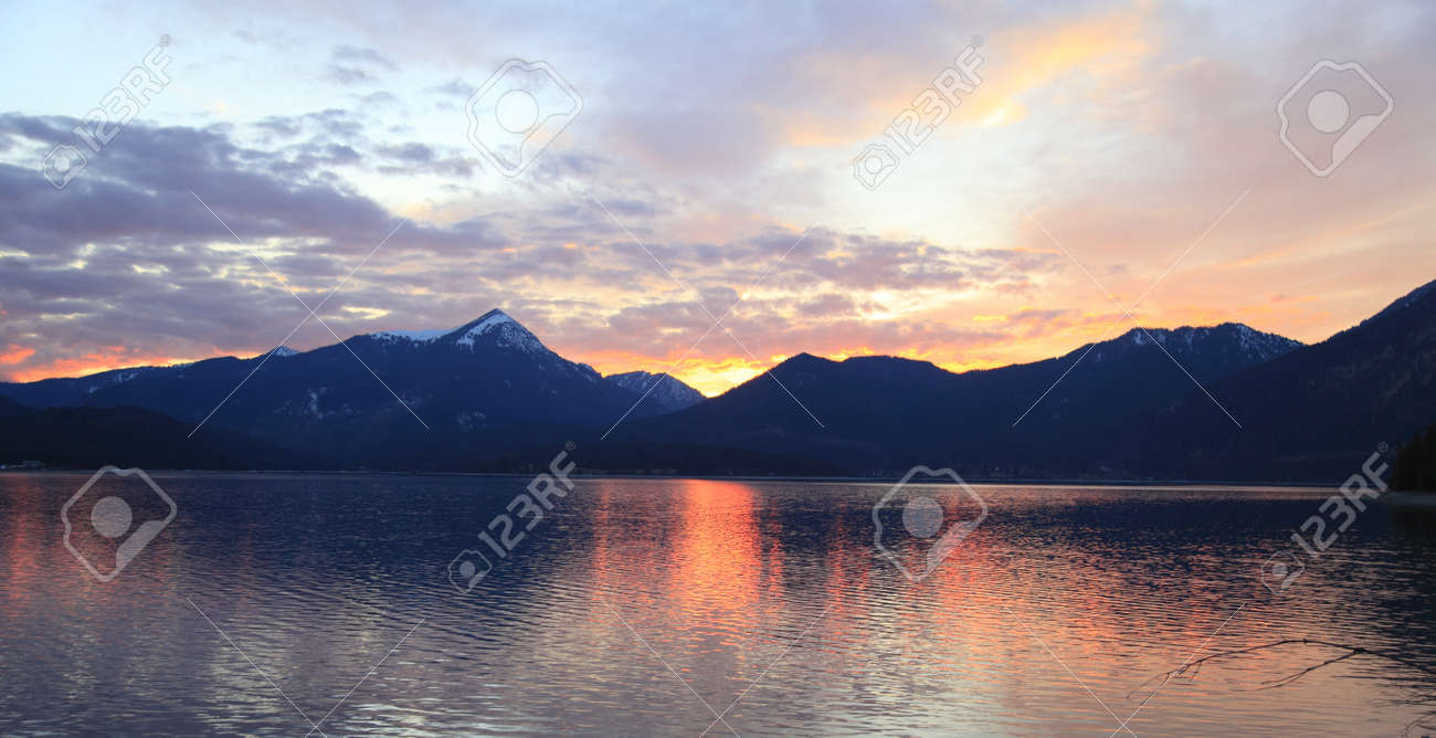 lake at evening with colored light Stock Photo - 9636671