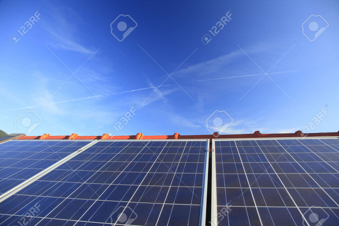array of photovoltaic modules on a roof Stock Photo - 9678422