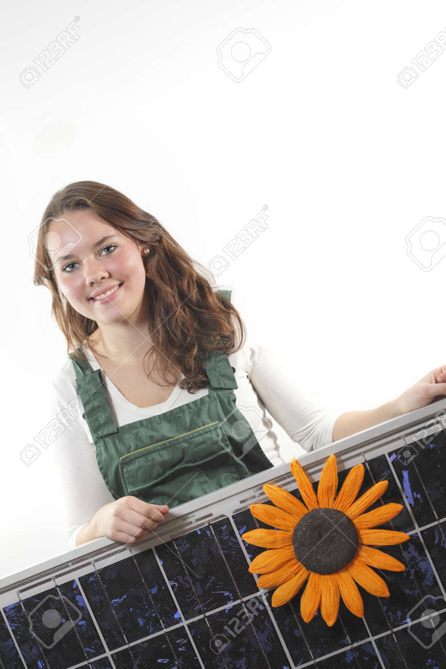 Young woman with a solar panel,photovoltaic Stock Photo - 11074460