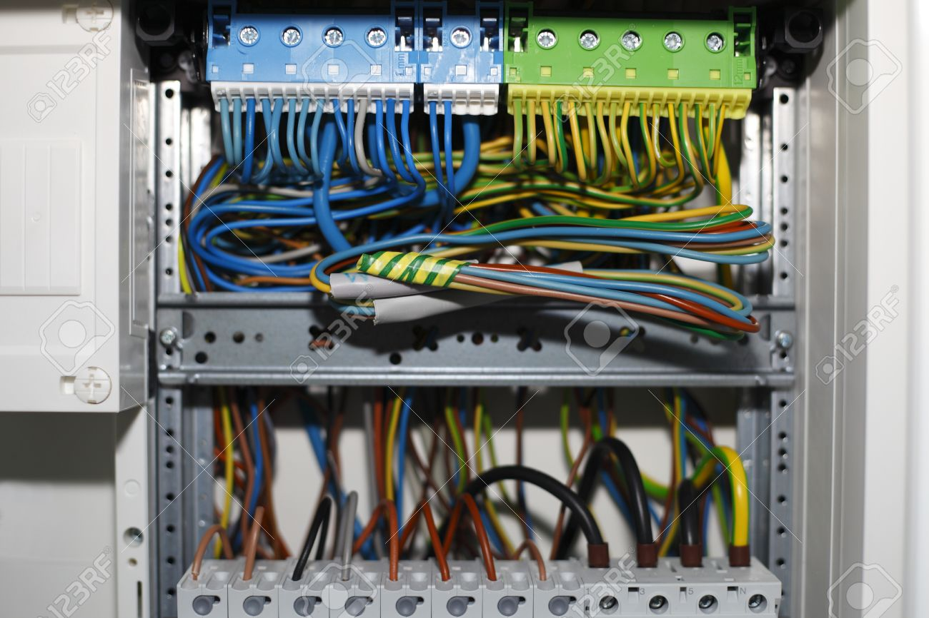 Electricity Distribution Box With Wires And Circuit Breakers Stock Home Wiring Photo 11653175