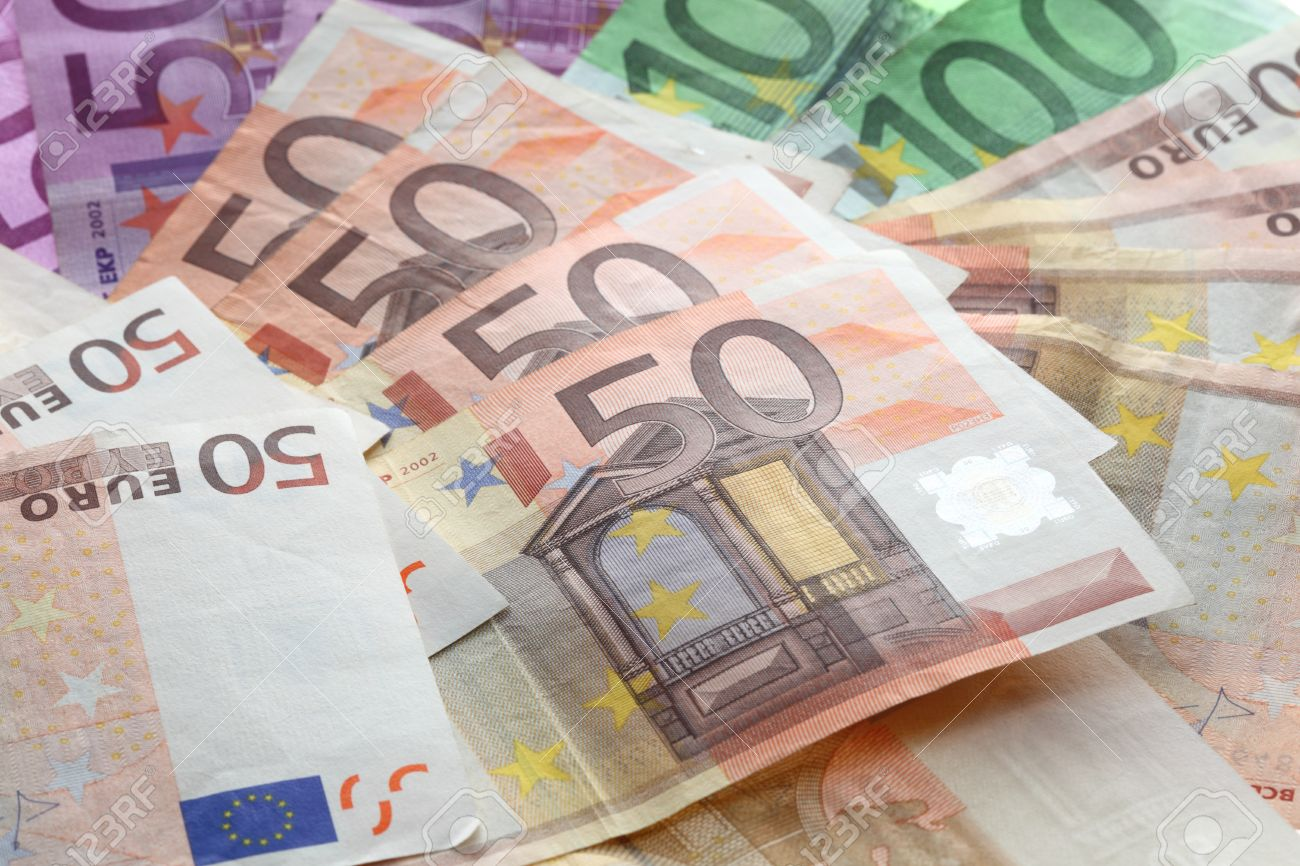 big pile of money  euros over white background Stock Photo - 12771610