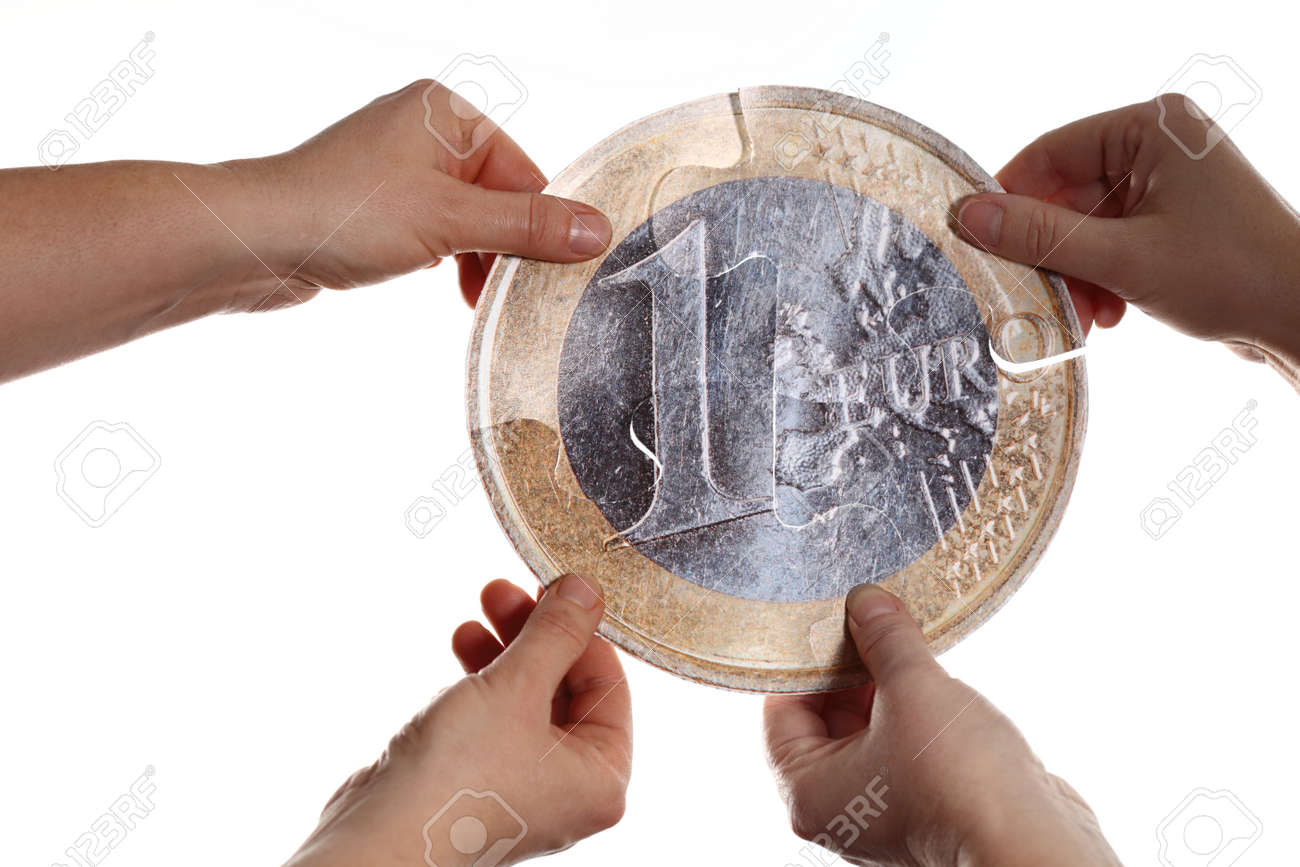 holding a big euro coin in hands Stock Photo - 13159217
