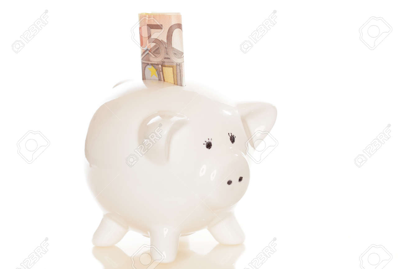 save money with piggy bank and white background Stock Photo - 19333067